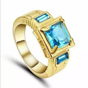 Jewelry - 18k Yellow Gold Filled Blue Aquamarine Ring sz 9